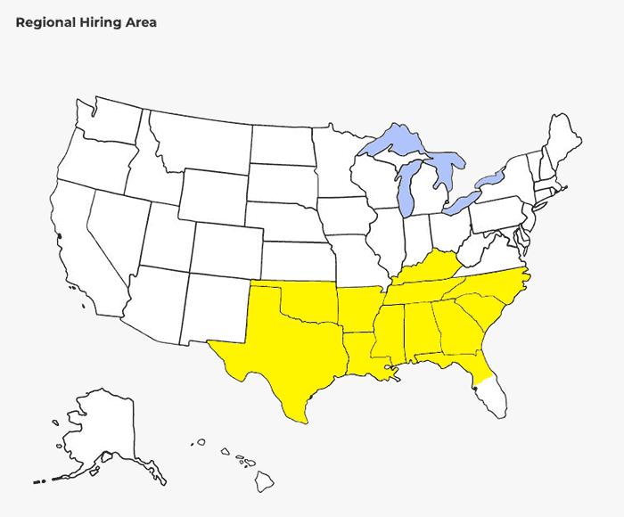 Gulf Relay Regional hiring area